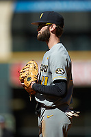 Missouri Tigers first baseman Brandt Belk (21) on defense against the Baylor Bears in game one of the 2020 Shriners Hospitals for Children College Classic at Minute Maid Park on February 28, 2020 in Houston, Texas. The Bears defeated the Tigers 4-2. (Brian Westerholt/Four Seam Images)