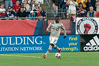 FOXBOROUGH, MA - JULY 25: Zachary Brault-Guillard #15 of CF Montreal looks to pass during a game between CF Montreal and New England Revolution at Gillette Stadium on July 25, 2021 in Foxborough, Massachusetts.