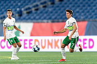 FOXBOROUGH, MA - AUGUST 26: Alex Morrell #7 of Greenville Triumph SC attempts to control the ball during a game between Greenville Triumph SC and New England Revolution II at Gillette Stadium on August 26, 2020 in Foxborough, Massachusetts.