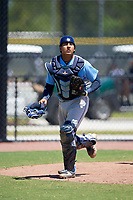 Tampa Bay Rays catcher Luis Leon (97) during a Minor League Extended Spring Training game against the Atlanta Braves on April 15, 2019 at CoolToday Park Training Complex in North Port, Florida.  (Mike Janes/Four Seam Images)