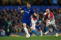 Mateo Kovacic of Chelsea moves from Miroslav Stoch of Slavia Prague during the UEFA Europa League match between Chelsea and Slavia Prague at Stamford Bridge, London, England on 18 April 2019. Photo by Andy Rowland / PRiME Media Images.<br /> .<br /> .<br /> Editorial use only, license required for commercial use. No use in betting,<br /> games or a single club/league/player publications.'