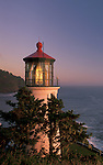 Heceta Head Lighthouse at sunset, Oregon coast..#2308-3516