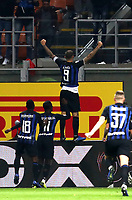 Calcio, Serie A: Inter Milano - AC Milan , Giuseppe Meazza stadium, .October 21, 2018.<br /> Inter's captain Mauro Icardi (c) celebrates after scoring during the Italian Serie A football match between Inter and Milan at Giuseppe Meazza (San Siro) stadium, October 21, 2018.<br /> UPDATE IMAGES PRESS/Isabella Bonotto