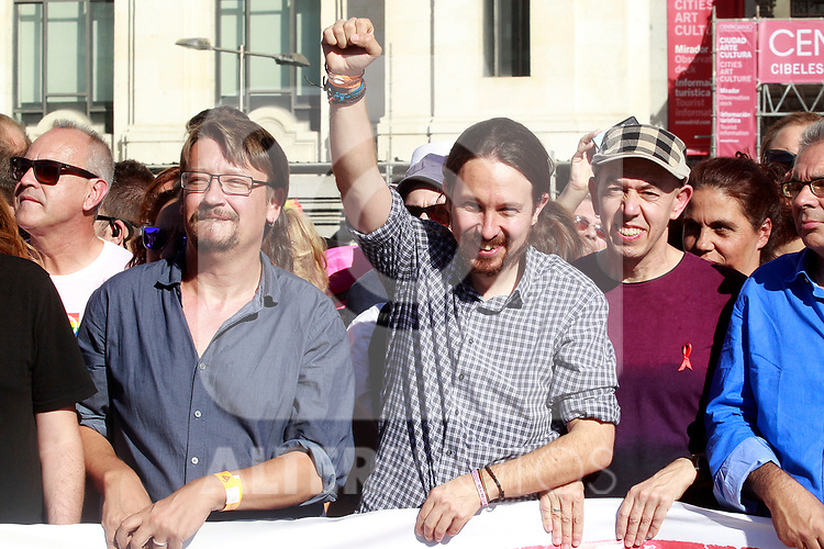 Leaders of Podemos Xavier Domenech (l) and Pablo Iglesias with Jesus Generelo, President of FELGTB during the demonstration of World Pride Madrid 2017. July 1, 2017. (ALTERPHOTOS/Acero)
