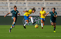 ORLANDO, FL - FEBRUARY 18: Marta #10 of Brazil passes the ball during a game between Argentina and Brazil at Exploria Stadium on February 18, 2021 in Orlando, Florida.