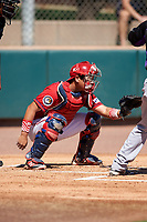 Kia Tigers catcher Bum-soo Shin (62) during an Instructional League game against the Colorado Rockies on October 5, 2016 at Salt River Fields at Talking Stick in Scottsdale, Arizona.  (Mike Janes/Four Seam Images)