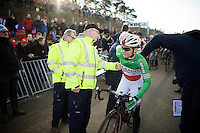 Eva Lechner's (ITA/Colnago-SudTirol) race number being checked by UCI officials at the start<br /> <br /> UCI Cyclocross World Cup Heusden-Zolder 2015
