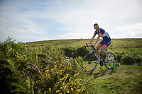 Marcin Bialoblocki (POL) warming down after the stage <br /> <br /> 2013 Tour of Britain<br /> stage 6: Sidmouth to Haytor (Dartmorr): 137km