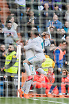 Cristiano Ronaldo of Real Madrid celebrates with teammate Lucas Vazquez during the La Liga 2017-18 match between Real Madrid and Deportivo Alaves at Santiago Bernabeu Stadium on February 24 2018 in Madrid, Spain. Photo by Diego Souto / Power Sport Images