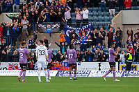 25th September 2021; Kilmac Stadium, Dundee, Scotland: Scottish Premiership football, Dundee versus Rangers; Rangers celebrate at the end of the match with the visiting fans