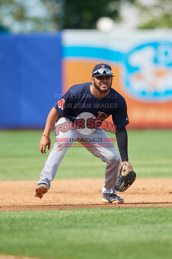 Lowell Spinners third baseman Jonathan Ortega (29) during a game against the Staten Island Yankees on August 22, 2018 at Richmond County Bank Ballpark in Staten Island, New York.  Staten Island defeated Lowell 10-4.  (Mike Janes/Four Seam Images)