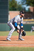 Surprise Saguaros third baseman Charles Leblanc (12), of the Texas Rangers organization, during an Arizona Fall League game against the Scottsdale Scorpions at Scottsdale Stadium on October 26, 2018 in Scottsdale, Arizona. Surprise defeated Scottsdale 3-1. (Zachary Lucy/Four Seam Images)