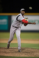Lake Elsinore Storm relief pitcher Dauris Valdez (32) delivers a pitch to the plate during a California League game against the Modesto Nuts at John Thurman Field on May 12, 2018 in Modesto, California. Lake Elsinore defeated Modesto 4-1. (Zachary Lucy/Four Seam Images)