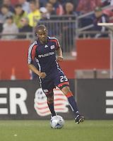 New England Revolution defender Darrius Barnes (25) regroups. The New England Revolution tied the Colorado Rapids, 1-1, at Gillette Stadium on May 16, 2009.