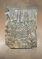 Pictures & images of the North Gate Hittite sculpture stele depicting a ship with fish. 8the century BC.  Karatepe Aslantas Open-Air Museum (Karatepe-Aslantaş Açık Hava Müzesi), Osmaniye Province, Turkey. Against art background