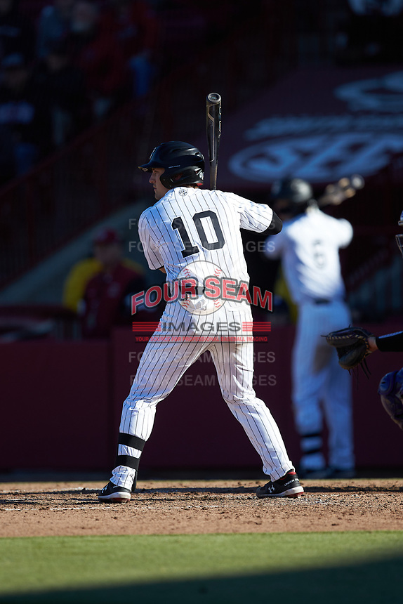 Colin Burgess (10) of the South Carolina Gamecocks at bat against the Holy Cross Crusaders at Founders Park on February 15, 2020 in Columbia, South Carolina. The Gamecocks defeated the Crusaders 9-4.  (Brian Westerholt/Four Seam Images)