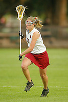 STANFORD, CA - MARCH 26: Katie Grube of the Stanford Cardinal during Stanford's 9-8 (OT) win over the Hofstra Pride on March 26, 2004 at Maloney Field in Stanford, California.