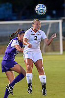 Texas State forward Kassi Hormuth (9) defends with a header during NCAA soccer game, Friday, September 12, 2014 in San Marcos, Tex. TCU defeated Texas State 1-0. (Mo Khursheed/TFV Media via AP Images)