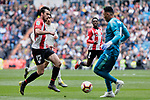 Real Madrid's Keylor Navas and Athletic Club de Bilbao's Inigo Lekue during La Liga match between Real Madrid and Athletic Club de Bilbao at Santiago Bernabeu Stadium in Madrid, Spain. April 21, 2019. (ALTERPHOTOS/A. Perez Meca)