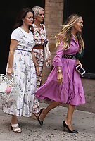 NEW YORK, NY- July 20: Kristin Davis, Sarah Jessica Parker and Cynthia Nixon on the set of the HBOMax Sex And The City reboot series And Just Like That on July 20, 2021 in New York City. <br /> CAP/MPI/RW<br /> ©RW/MPI/Capital Pictures