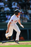 Left fielder Derek Miller (7) of the Greenville Drive bats in a game against the Augusta GreenJackets on Sunday, June 12, 2016, at Fluor Field at the West End in Greenville, South Carolina. Greenville won, 11-8. (Tom Priddy/Four Seam Images)