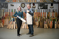 BNPS.co.uk (01202) 558833<br /> Pic: ZacharyCulpin/BNPS<br /> <br /> Tim works with his daughter Keira at Keeley Cricket<br /> <br /> Master bat maker Tim Keeley is putting the finishing touches to his beautifully hand-crafted pieces of willow ahead of the forthcoming cricket season.<br /> <br /> Tim, 62, has made almost half a million bats since starting out as an apprentice at Gray Nicholls aged 16 in 1975.<br /> <br /> He is the founder of family business Keeley Cricket, in Battle, East Sussex, which he runs with his brother Nick who has 35 years of bat-making experience.