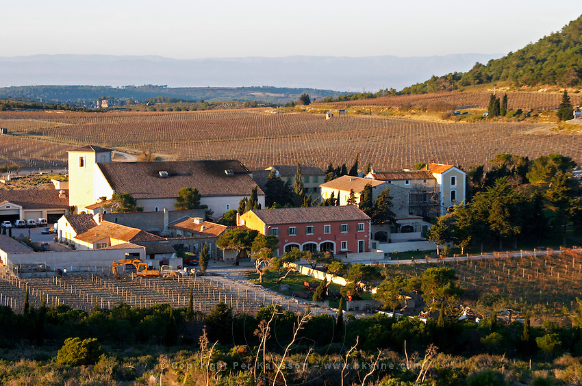 Domaine Gerard Bertrand, Chateau l'Hospitalet. La Clape. Languedoc. The main building. The vineyard. France. Europe.