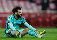 April 3rd 2021; Emriates Stadium, London, England;  Liverpools Mohamed Salah smiles after missing a chance during the Premier League match between Arsenal and Liverpool at the Emirates Stadium in London