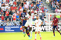 KANSAS CITY, KS - JULY 18: Kellyn Acosta #23 of the United States ,Richie Laryea #22 of Canada during a game between Canada and USMNT at Children's Mercy Park on July 18, 2021 in Kansas City, Kansas.