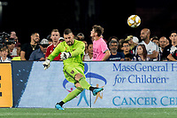 FOXBOROUGH, MA - SEPTEMBER 21: Andrew Putna #51 of Real Salt Lake goal kick during a game between Real Salt Lake and New England Revolution at Gillette Stadium on September 21, 2019 in Foxborough, Massachusetts.
