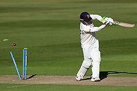 Peter Siddle of Essex is bowled by Oliver Hannon-Dalby during Warwickshire CCC vs Essex CCC, LV Insurance County Championship Group 1 Cricket at Edgbaston Stadium on 22nd April 2021