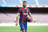 31st May 2021; Barcelona, Spain;  Sergio Kun Aguero during his presentation as new FC Barcelona, Barca player at the Nou Camp stadiium on May 31, 2021 in Barcelona, Spain. Aguero was signed from Manchester City in the English Premier League
