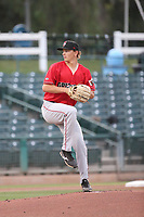 Sam Weatherly (22) of the Fresno Grizzlies pitches against the Inland Empire 66ers at San Manuel Stadium on May 25, 2021 in San Bernardino, California. (Larry Goren/Four Seam Images)