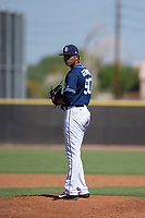 San Diego Padres pitcher Manny Guzman (90) prepares to deliver a pitch to the plate during an Instructional League game against the Texas Rangers on September 20, 2017 at Peoria Sports Complex in Peoria, Arizona. (Zachary Lucy/Four Seam Images)