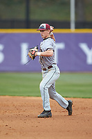 North Carolina Central Eagles second baseman Corey Joyce (7) makes a throw to first base against the High Point Panthers at Williard Stadium on February 28, 2017 in High Point, North Carolina. The Eagles defeated the Panthers 11-5. (Brian Westerholt/Four Seam Images)