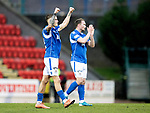 St Johnstone v Livingston…..07.03.20   McDiarmid Park  SPFL<br />Callum Hendry celebrates at full time with Chris Kane<br />Picture by Graeme Hart.<br />Copyright Perthshire Picture Agency<br />Tel: 01738 623350  Mobile: 07990 594431