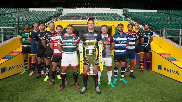 (L-R) Tom Wood, captain of Northampton Saints, Gerrit-Jan van Velze, captain of Worcester Warriors, <br /> Ally Hogg, captain of Newcastle Falcons, Jack Yeandle, captain of Exeter Chiefs, Greig Laidlaw, captain of Gloucester Rugby, Tom Youngs, captain of Leicester Tigers, Brad Barritt, captain of Saracens, Danny Care, captain of Harlequins, Guy Mercer, captain of Bath Rugby, Jack Lam, captain of Bristol Rugby, Joe Launchbury, captain of Wasps, Josh Beaumont, captain of Sale Sharks<br /> <br /> Captains of the Premiership Rugby clubs at the Aviva Premiership Rugby launch at Twickenham Stadium on Thursday 25 September 2016 (Photo by Rob Munro/Stewart Communications)