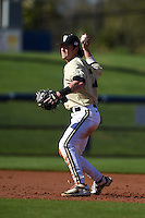 Vanderbilt Commodores infielder Dansby Swanson (7) throws to first during a game against the Indiana State Sycamores on February 21, 2015 at Charlotte Sports Park in Port Charlotte, Florida.  Indiana State defeated Vanderbilt 8-1.  (Mike Janes/Four Seam Images)