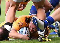 31st August 2020; Recreation Ground, Bath, Somerset, England; English Premiership Rugby, Bath versus Wasps; Tom West of Wasps scores a try