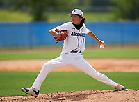 IMG Academy Ascenders Navy pitcher Kaz Uehara (9) during a game against Victory Charter School on April 1, 2021 at IMG Academy in Bradenton, Florida.  (Mike Janes/Four Seam Images)