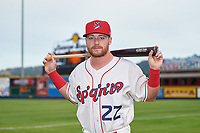 Spokane Indians first baseman Blaine Crim (22) poses for a photo before a Northwest League game against the Hillsboro Hops at Avista Stadium on August 23, 2019 in Spokane, Washington. Hillsboro defeated Spokane 8-2. (Zachary Lucy/Four Seam Images)