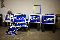 Stacks of campaign signs wait in a storage room at the Mitt  Romney New Hampshire campaign headquarters in Manchester, New Hampshire, on Jan. 7, 2012. Romney is seeking the 2012 Republican presidential nomination.