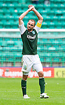 Hibs v St Johnstone...25.08.12   SPL.James McPake apauds the fans.Picture by Graeme Hart..Copyright Perthshire Picture Agency.Tel: 01738 623350  Mobile: 07990 594431
