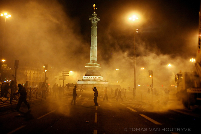 Tear gas fills the Place de La Bastille after protesters clashed with riot police in Paris, France on 6 May, 2007. Opponents of Nicolas Sarkozy clashed with police shortly after Sarkozy was named the winner of France's presidential elections