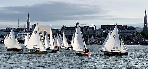 "The venerable Water Wags in the thick of their ""two-races-on-Wednesdays"" programme in Dun Laoghaire. Despite the pandemic restrictions, they were managing turnouts of 25 boats in 2020. Photo: Con Murphy"