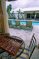 Les Bahamas /Ile d'Eleuthera/Harbour Island/Dunmore Town: Rock House hotel décoré par Wallace Tutt