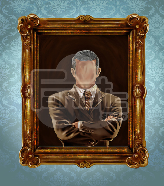 Illustrative image of picture frame with faded face representing identity crisis