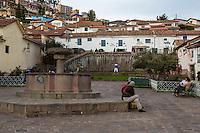 Peru, Cusco.  Plazoleta San Blas.  Jugglers Practicing in Background.
