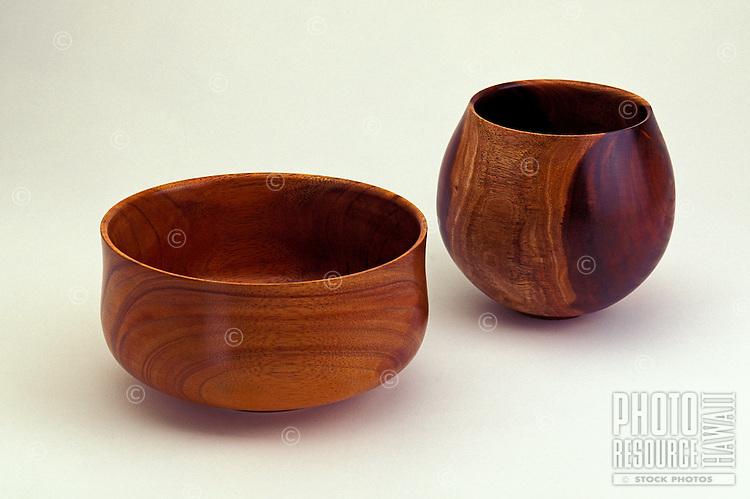 Two beautiful hand carved bowls made from native Hawaiian koa wood.