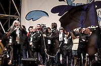 """Il leader del MoVimento 5 Stelle Beppe Grillo chiude la campagna elettorale per le elezioni politiche nazionali e regionali del Lazio con l'ultima tappa dello """"Tsunami Tour"""" in piazza San Giovanni a Roma, 23 febbraio 2013..Italian blogger and comedian Beppe Grillo, leader of the 5 Stars Movement, attends the electoral campaign closing meeting in Rome, 23 February 2013. Political and local elections are scheduled in Italy for next 24 and 25 February..UPDATE IMAGES PRESS/Riccardo De Luca"""